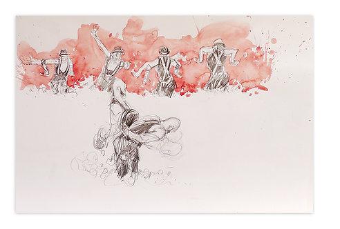 Zingaro, Bartabas dansant dans la mousse (30 x 42 cm)