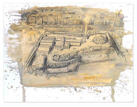 Zingaro, Vue aérienne du site (55 x 67 cm)