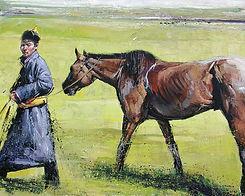 Emmanuel Michel peinture Mongolie, après la course de chevaux