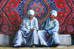 Emmanuel Michel peinture Egypte hommes devant un tissu egyptien