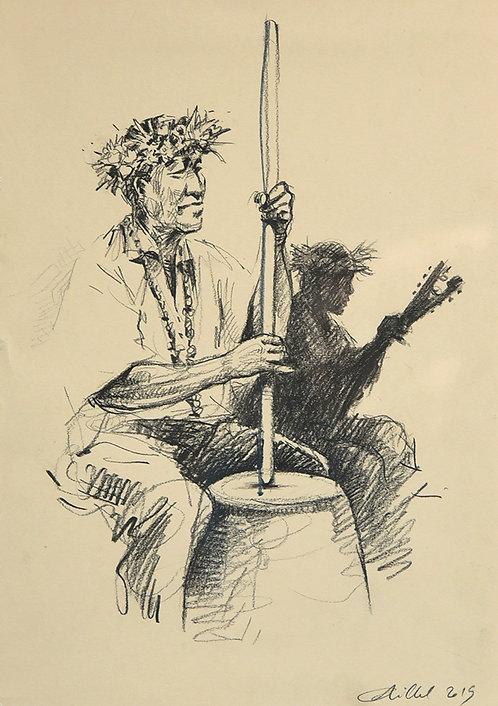 Polynésie, Musicien et sa contrebasse aux Marquises (50 x 40 cm)