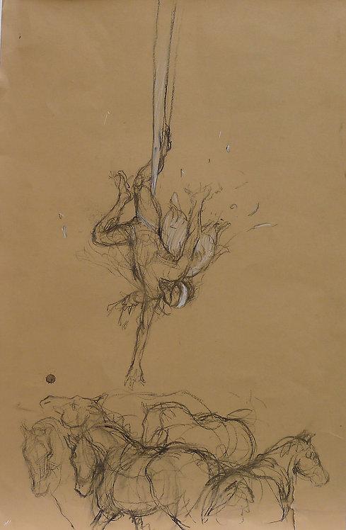 Zingaro, Ange déchu et chevaux (70 x 46 cm)