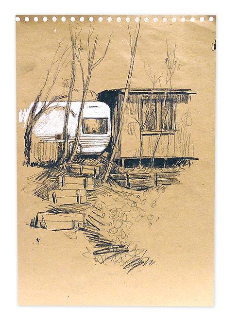 Zingaro, Caravane adossée à une cabane (29 x 42 cm)