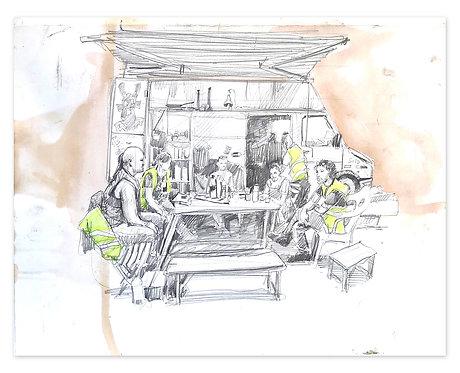 Zingaro, L'équipe du chapiteau (45 x 56 cm)