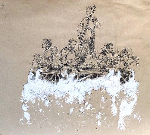 Zingaro, Musiciens sur un nuage (50 x 58 cm)