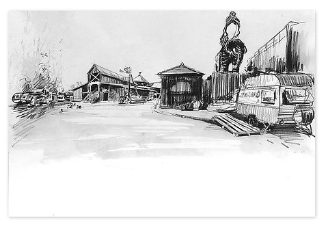 Zingaro, L'entrée du site (30 x 42 cm)