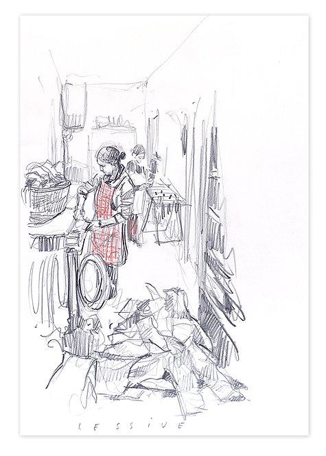 Zingaro, La lessive (30 x 42 cm)