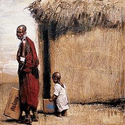 Emmanuel Michel peinture Tanzanie femme et enfant Masai