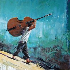 Emmanuel Michel peinture Cuba le joueur de contrebasse