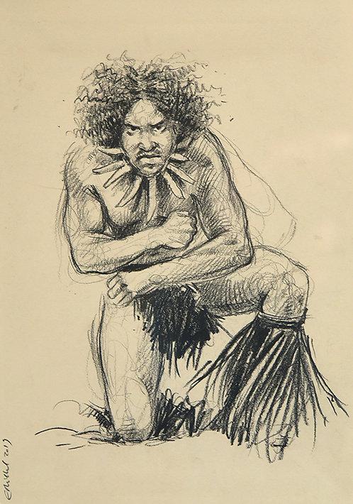 Polynésie, Danseur aux Marquises (50 x 40 cm)