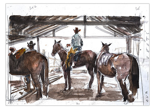 Cuba, chevaux (29,5 x 40,5 cm)