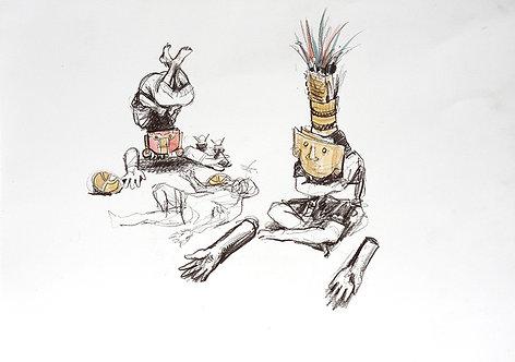 Pérou, Masques funéraires (40 x 30 cm)