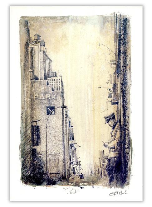 New York, Le portier (21 x 30 cm)