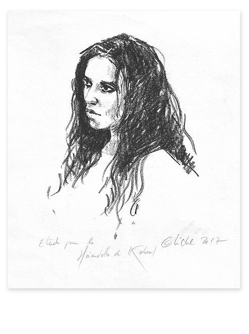 Afghanistan, Les Hirondelles de Kaboul, Portrait de femme (37 x 28 cm)