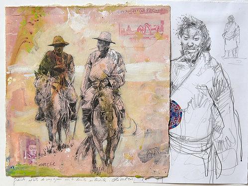 Tibet, Cavaliers et Tibétain (40 x 30 cm)