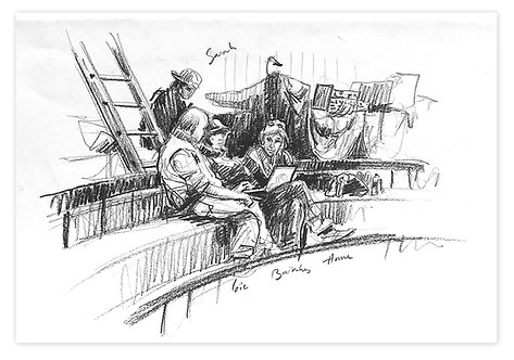 Zingaro, Mise au point du spectacle (29 x 42 cm)