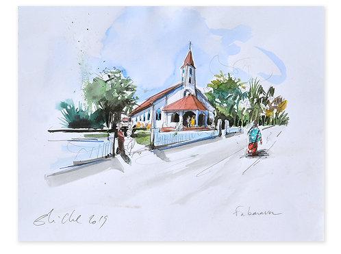 Polynésie, Eglise de Fakarava aux Tuamotu (24 x 31 cm)