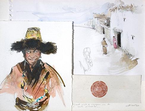 Mongolie, Visite (30 x 40 cm)