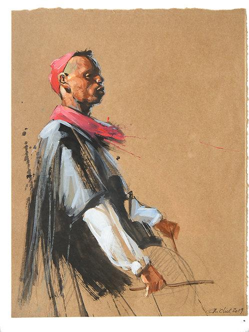 Maroc, Idriss musicien (43 x 33 cm)