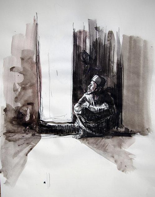 Afghanistan, Les Hirondelles de Kaboul, Homme assis ( 50 x 42 cm)
