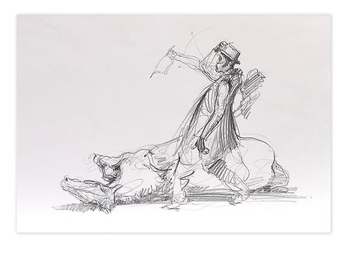 Zingaro, Bartabas et son cheval (30 x 42 cm)