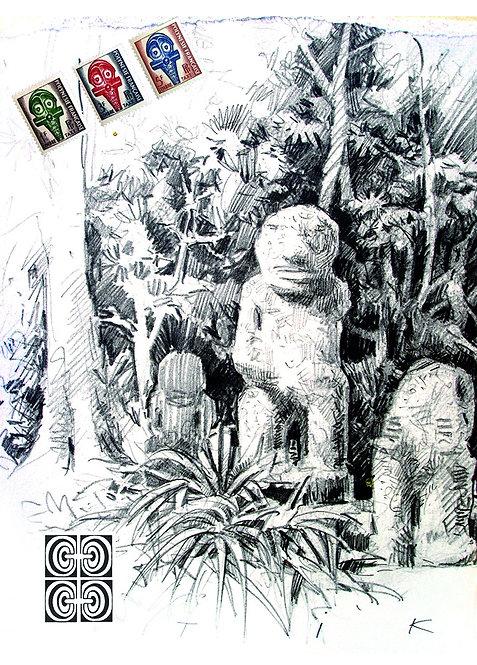 Polynésie, Tiki 10x15 cm