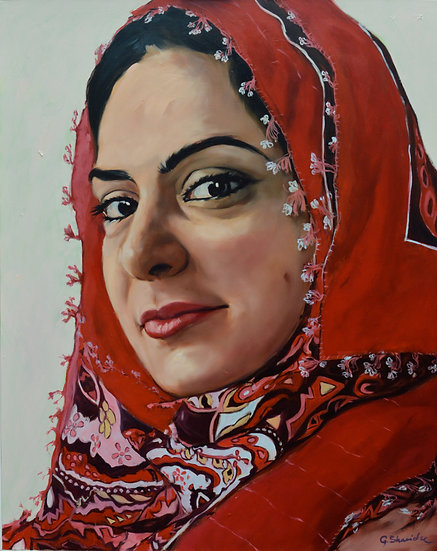 Girl in Red Scarf