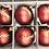 Thumbnail: Kerstbal bordeaux-rood met gouden vallende ster-decoratie (6 in een doos)