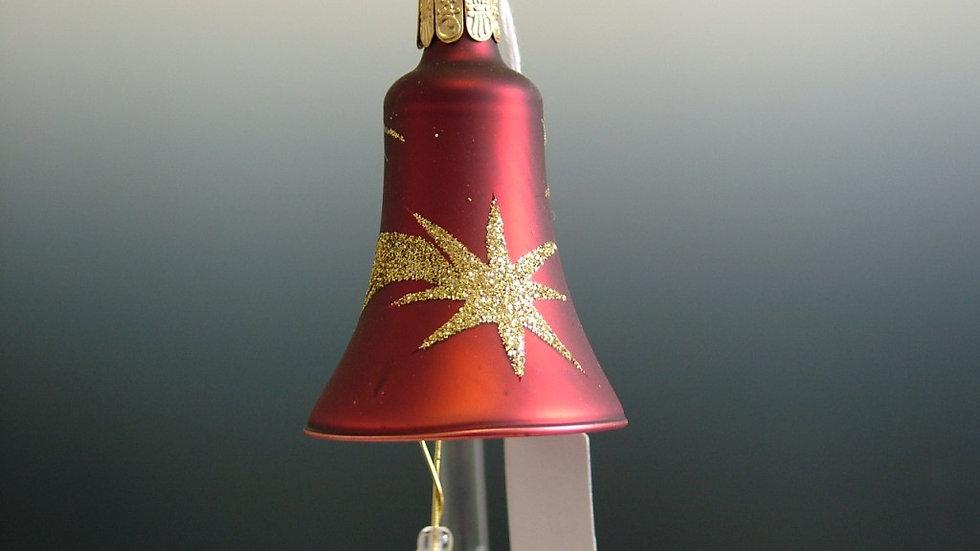 Kerstbelletje rood met gouden vallende ster decoratie (4 in een doos)