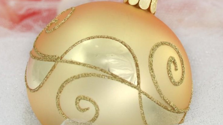Kerstbal goud met afwisselend matte en glanzende zones (6 in een doos)