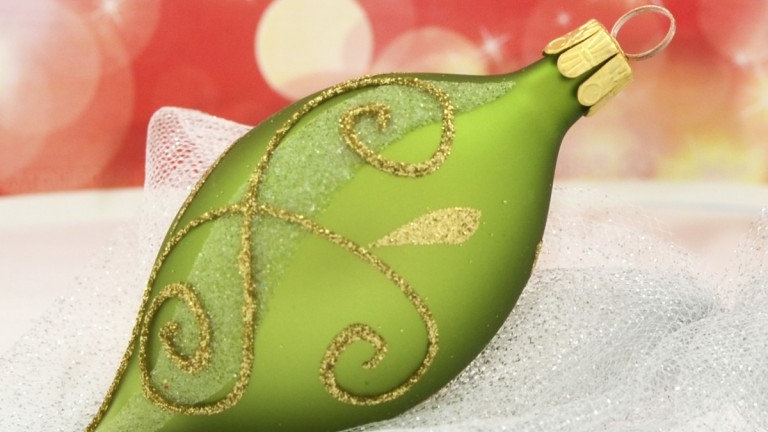 Druppel groen met gouden bladfiguurtjes (5 in een doos)