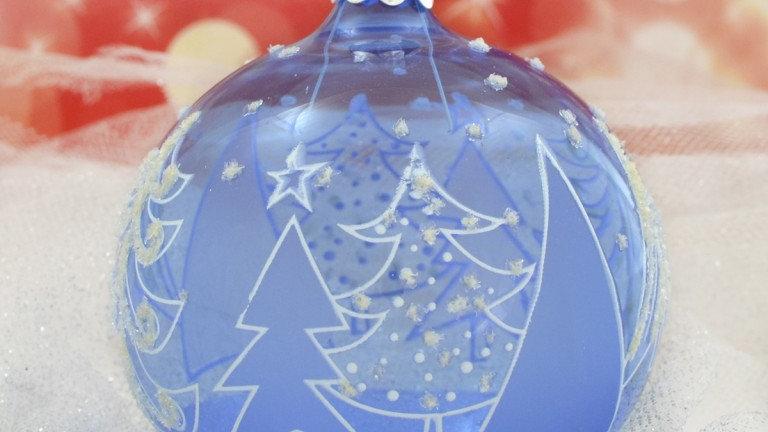 Kerstbal Blauw beschilderd