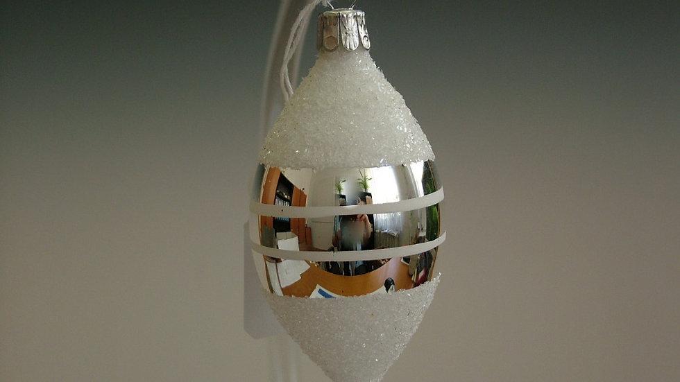 Druppel Wit met zilveren banden (5 in een doos)