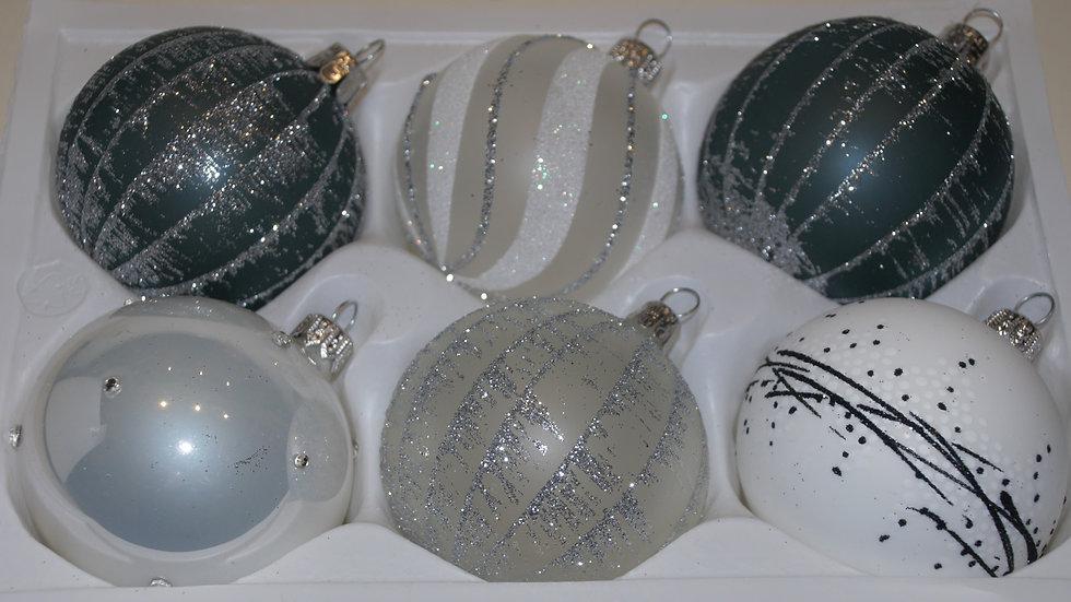 Mooie mix van kerstballen (6 in een doos)