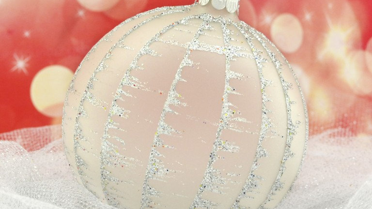 Kerstbal beschilderd met sneeuwlijnen (6 in een doos)