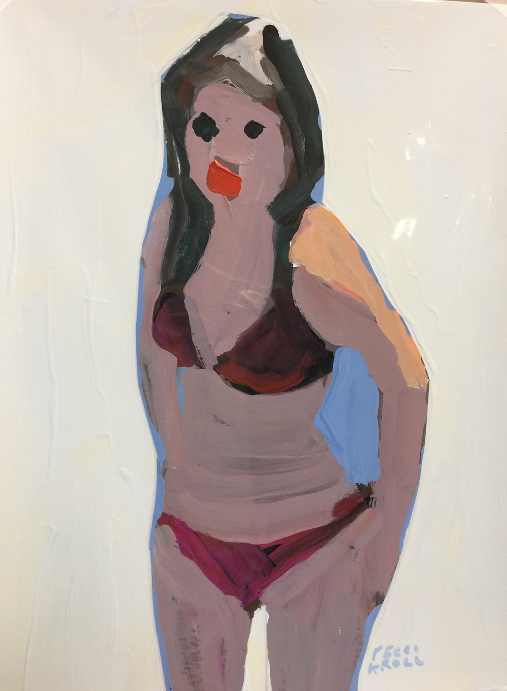 Peggi Kroll Roberts, gouache figure in red bathing suit recently sold