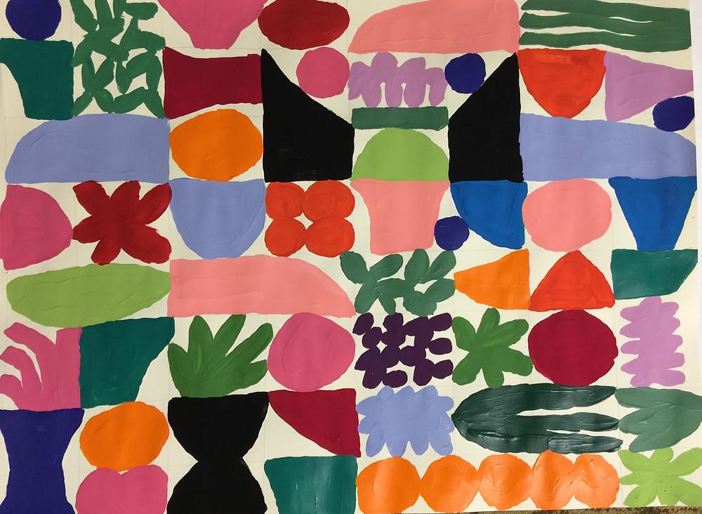 Peggi Kroll Roberts abstract acrylic painting - pattern work