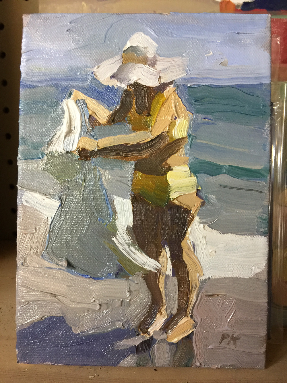 Peggi Kroll Roberts - woman on the beach with white hat oil painting