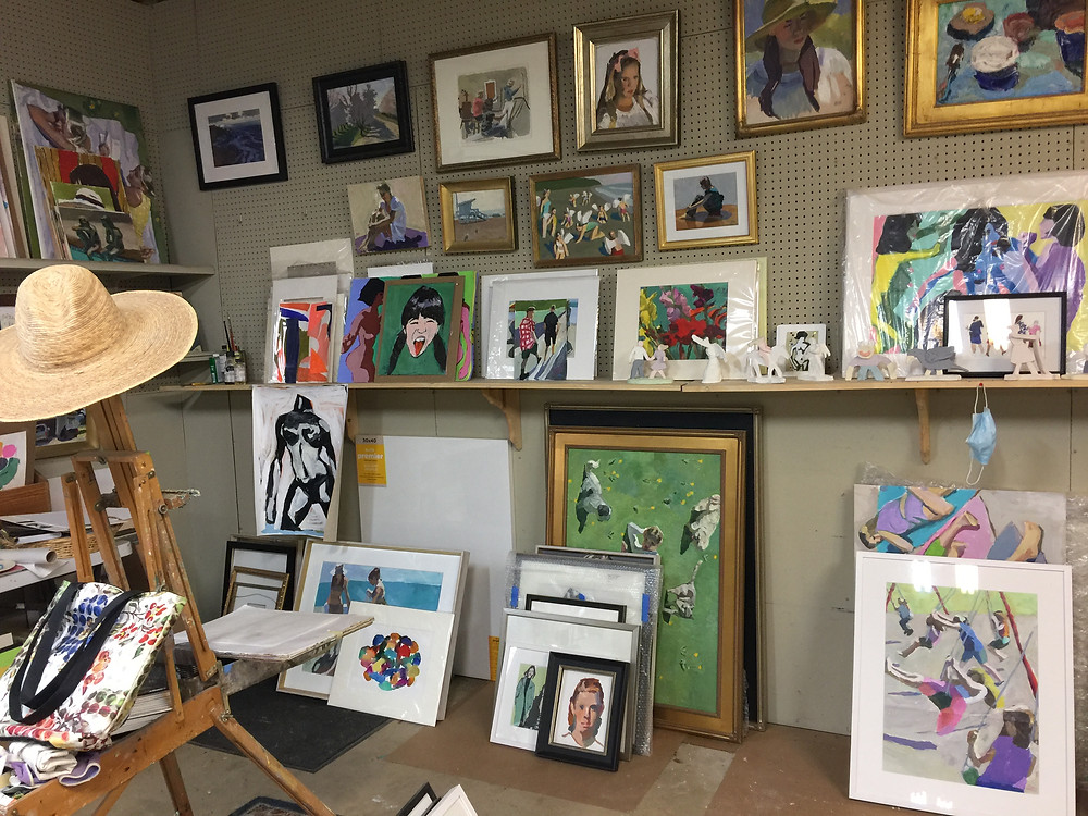 Peggi Kroll Roberts, my side of the studio at Kroll Roberts Studio. Lots of paintings in oils, gouache, and watercolor.