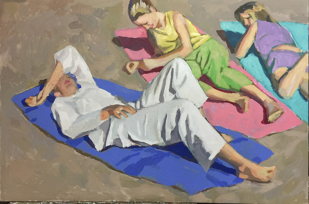 """Peggi Kroll Roberts - """"If nothing changes, then nothing changes"""" - Painting of girls on the beach"""
