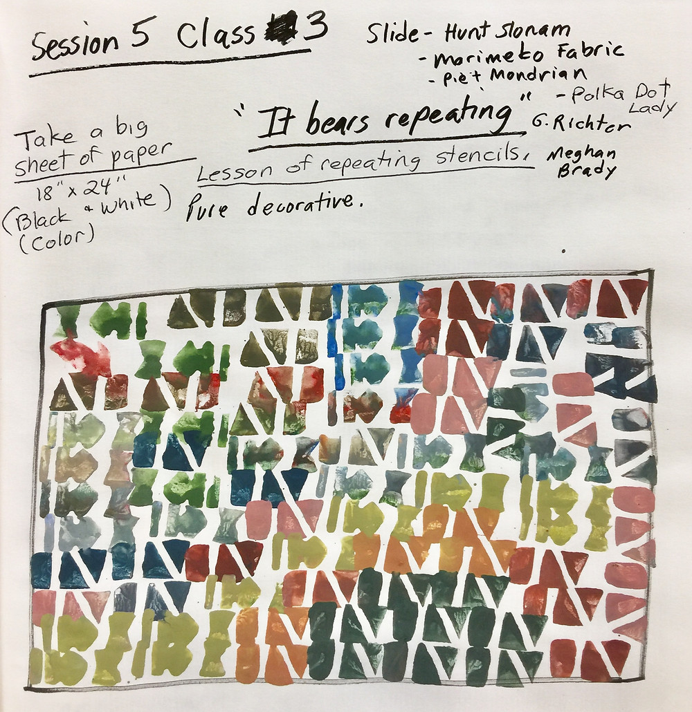 """Peggi Kroll Roberts lesson notes for classes, """"It bears repeating"""" - Lessons of repeating stencils - pure decorative"""""""
