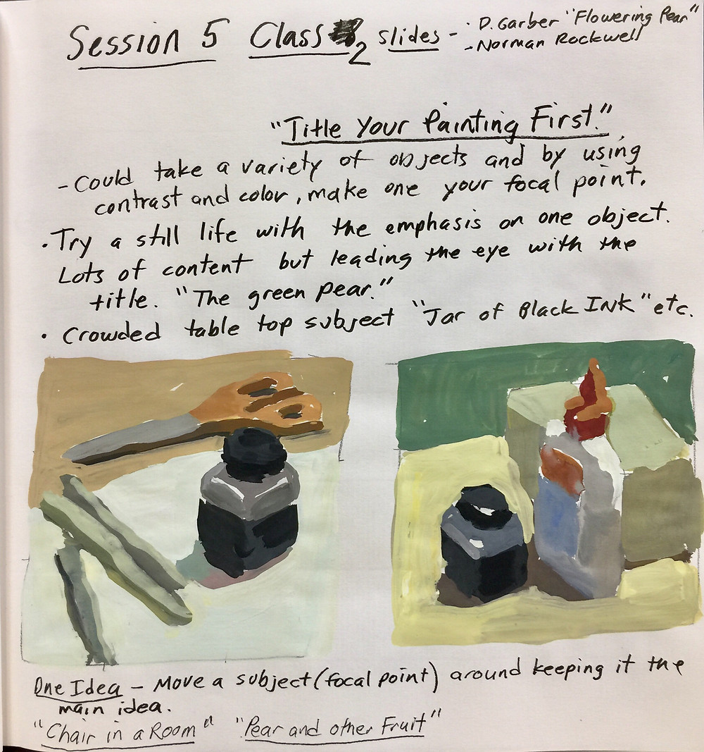 """Peggi Kroll Roberts lesson notes for classes, """"Title your painting first"""""""