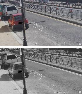 Daytime test (1) Original colored image, (2) grayscaled  image