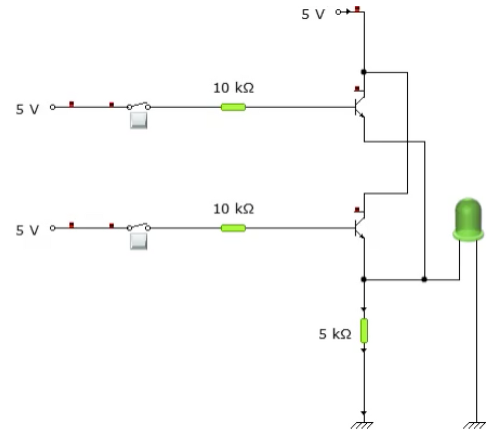 Circuit connection when both inputs are low.