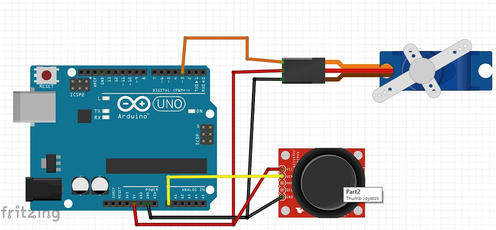 Circuit Diagram Of Arduino Connected With SG90 And Thumb Joystick