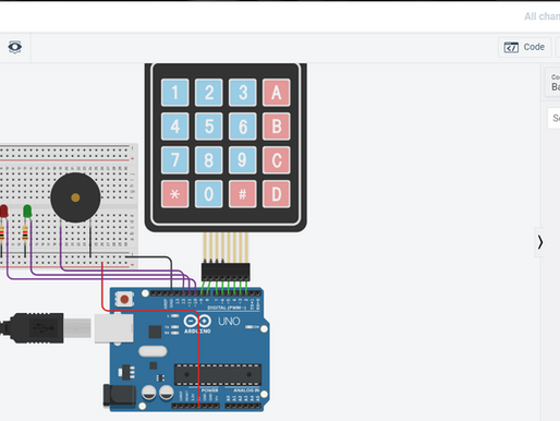 Password Protected Security System project using Arduino, Keypad, Piezo Buzzer and LEDs on TinkerCAD