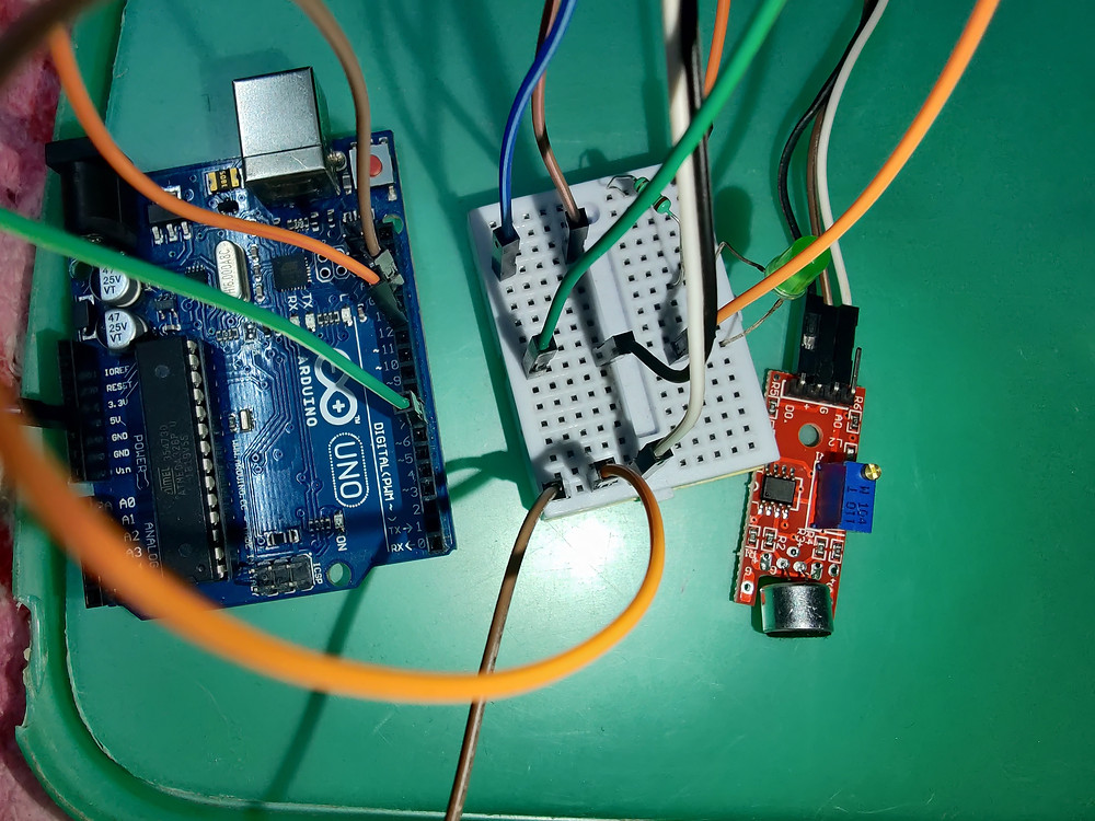 Arduino, breadboard, and sound sensor connection