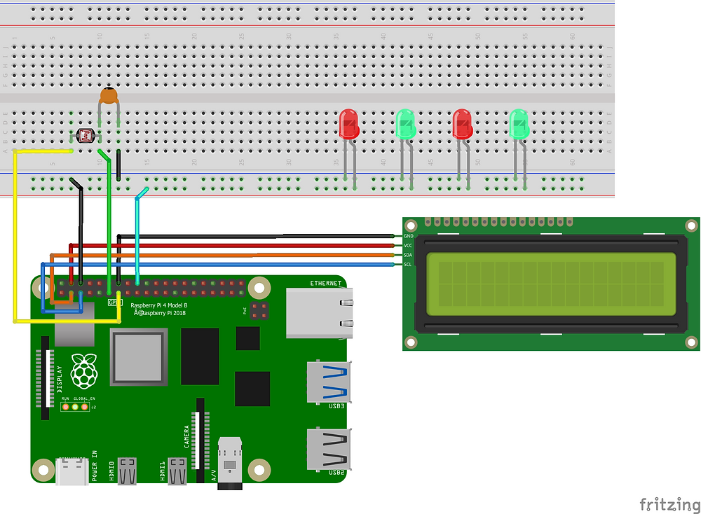 Circuit diagram of smart lighting system using Raspberry Pi