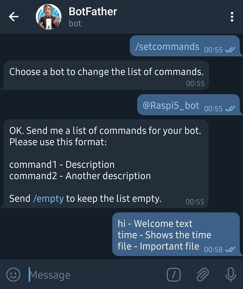 Commands used