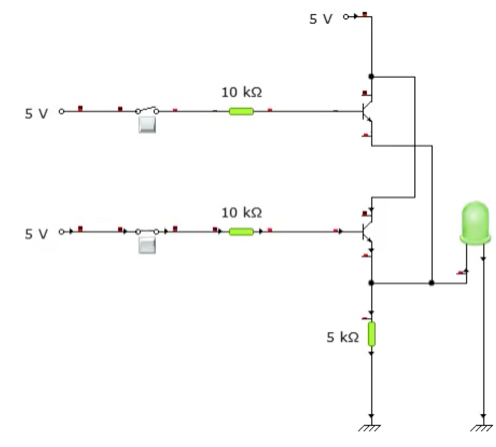 Circuit connection when one input is HIGH and the other is LOW.
